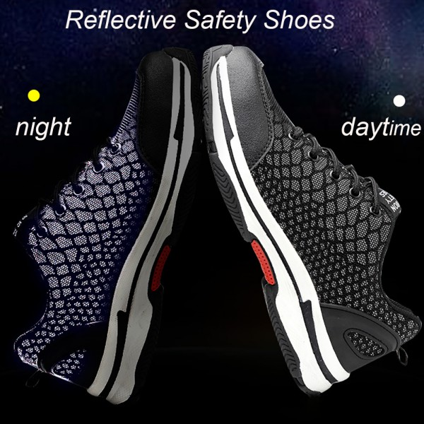 Breathable Puncture Proof Anti-Smashing Steel Toe Reflective Work Safety Shoes